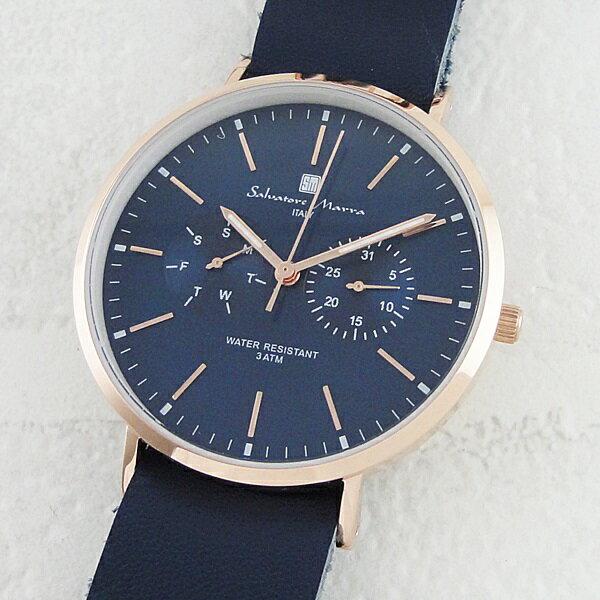 国内正規品 サルバトーレマーラ 時計 メンズ レディース 腕時計 ネイビー レザー SM15117-PGNVPG ビジネス 男性 ブランド 時計 誕生日 お祝い プレゼント ギフト お洒落