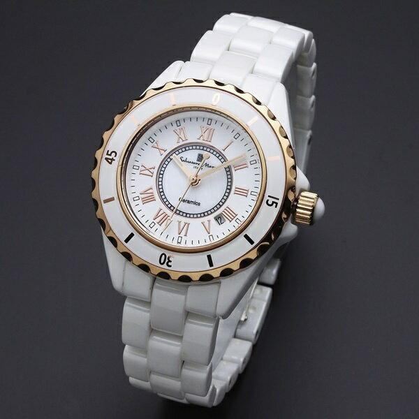 国内正規品 サルバトーレマーラ 時計 レディース 腕時計 ホワイト セラミック デイカレンダー SM15151-PGWHR ビジネス 女性 ブランド 時計 誕生日 お祝い クリスマスプレゼント ギフト お洒落