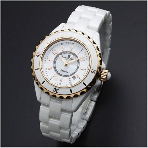 国内正規品 サルバトーレマーラ 時計 レディース 腕時計 ホワイト セラミック デイカレンダー SM15151-PGWHA ビジネス 女性 ブランド 時計 誕生日 お祝い クリスマスプレゼント ギフト お洒落