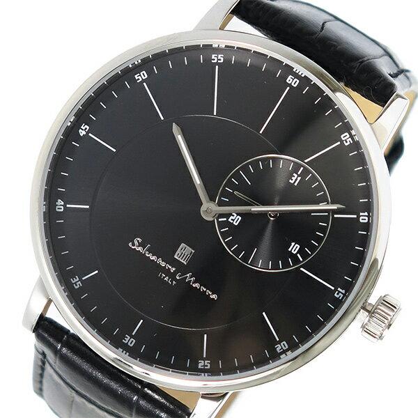国内正規品 サルバトーレマーラ 時計 メンズ レディース 腕時計 シルバーケース ブラック レザー SM17105-SSBK ビジネス 男女 ブランド 時計 誕生日 お祝い プレゼント ギフト お洒落
