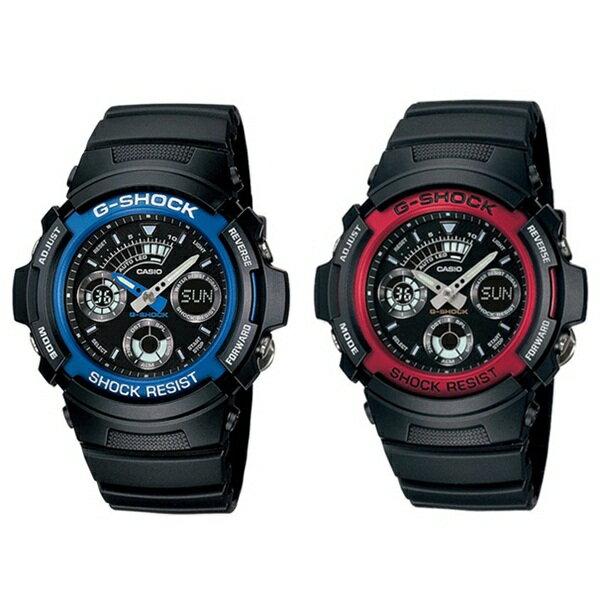 カシオ G-SHOCK ジーショック 腕時計 ペアウォッチ シェア アナデジ ブルー レッド ブラック AW-591-2AAW-591-4A ブランド 男女 カップル ペアセット 誕生日 お祝い プレゼント ギフト お洒落