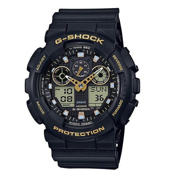 大きいフェイス カシオ 時計 メンズ 腕時計 Gショック G-SHOCK 海外モデル SPECIAL COLOR アナデジ 防水 ブラック×ゴールド GA-100GBX-1A9 ビジネス 男性 ブランド 誕生日 お祝い プレゼント ギフト お洒落