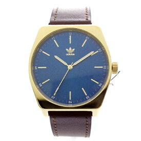 Adidas アディダス 時計 メンズ レディース 腕時計 男女兼用 プロセス ゴールド ブルー文字盤 茶色 レザー 革 CJ6352 ビジネス 男性 女性 ユニセックス ペアにおすすめ ブランド 【仕事用】 誕生日 お祝い プレゼント ギフト お洒落