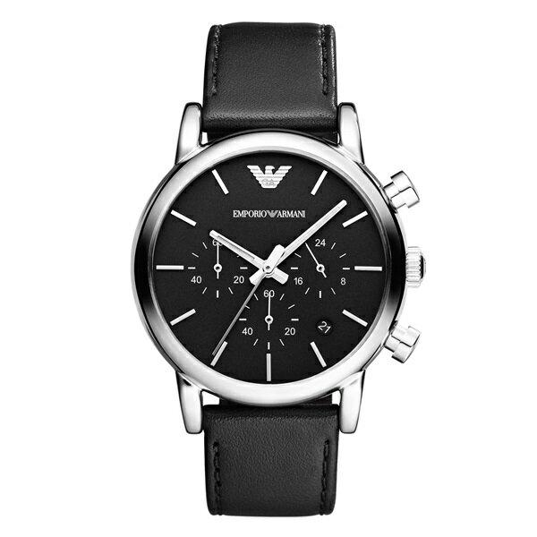 エンポリオアルマーニ 時計 メンズ 腕時計 クロノグラフ ブラック レザー AR1733 ビジネス 男性 ブランド 時計 誕生日 お祝い クリスマスプレゼント ギフト お洒落