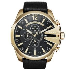 DEISEL ディーゼル 時計 メンズ 男性用 腕時計 MEGA CHIEF メガチーフ 51mm 10気圧防水 クロノグラフ ゴールド ブラックレザー ストラップ DZ4344 ビジネス 男性 誕生日 お祝い ギフト
