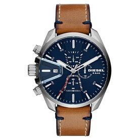 DEISEL ディーゼル 時計 メンズ 男性用 腕時計 MS9 CHRONO 47mm 防水 クロノグラフ ブルー文字盤 ブラウンレザー ストラップ DZ4470 ビジネス 男性 誕生日 お祝い ギフト クリスマス プレゼント