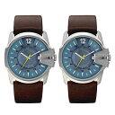 【無料特典付き】ディーゼル ペアウォッチ 腕時計 お洒落なブルー文字盤 お揃い 大人 大きめ カジュアル 茶 本革 レザ…