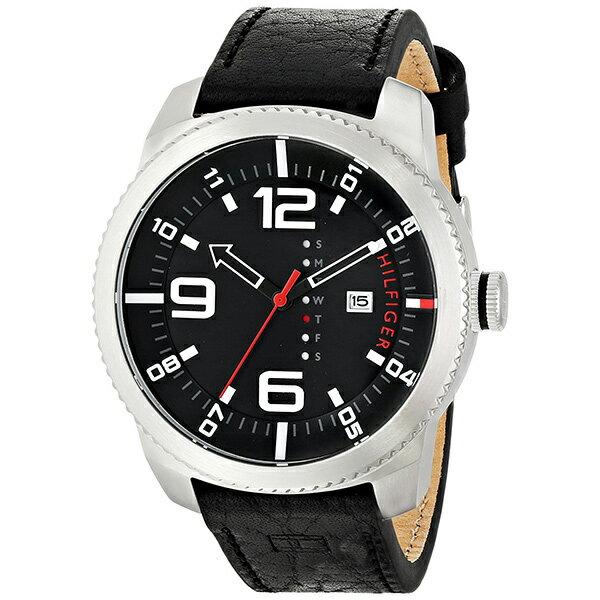 トミーヒルフィガー 腕時計 メンズ 50mm ブラック文字盤 ブラック レザー 1791014 ビジネス 男性 ブランド 時計 誕生日 お祝い クリスマスプレゼント ギフト お洒落