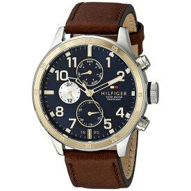トミーヒルフィガー 腕時計 メンズ TRENT マルチファンクション 46mm シルバー ゴールド ブラウン レザー 1791137 ビジネス 男性 ブランド 時計 誕生日 お祝い プレゼント ギフト お洒落