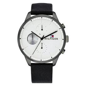 トミーヒルフィガー 腕時計 メンズ TRENT マルチファンクション 44mm ホワイト文字盤 ブラック レザー 1791489 ビジネス 男性 ブランド 時計 誕生日 お祝い プレゼント ギフト お洒落