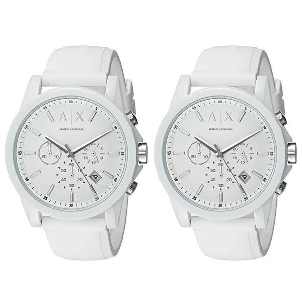 無料特典付き!アルマーニ・エクスチェンジ ペアウォッチ 腕時計 Active クロノグラフ ホワイト ラバー AX1325AX1325 ブランド カップル 男女 ペアセット 時計 誕生日 お祝い プレゼント ギフト お洒落