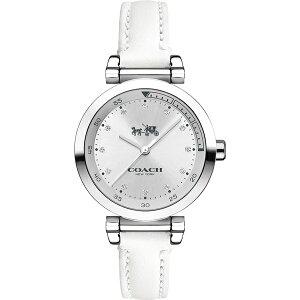 コーチ 時計 レディース 腕時計 シルバー ホワイトレザー 革ベルト 14502536 ビジネス 女性 ブランド 【仕事用】 誕生日 お祝い クリスマスプレゼント ギフト お洒落