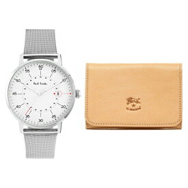 ポールスミス&イルビゾンテ セット商品 腕時計&カードケース メンズ ゲージ シルバーメッシュ ナチュラルベージュレザー 名刺入れ P10075/C0470P 120 ビジネス 男性 ブランド 時計 誕生日 お祝い プレゼント ギフト お洒落
