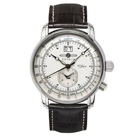 30ee22f465 ツェッペリン 時計 メンズ 腕時計 100周年記念モデル ブラウン クロコ レザー シルバー ケース 7640-1