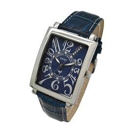 【楽天スーパーSALE】【無料特典付き!】ミッシェルジョルダン スポーツ 時計 メンズ 腕時計 シルバーケース 青 ネイビー ブルー レザー ダイヤモンド 長方形型 革 SG-3000-8 ビジネス 男性 時計 誕生日 お祝い ギフト