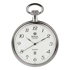 ROYAL LONDON ロイヤルロンドン 懐中時計 ポケットウォッチ シンプル オープンフェイス カレンダー付き シルバー 90015-01 アンティーク 散歩 時計 誕生日 お祝い ギフト