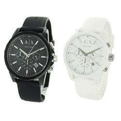 無料特典付き!アルマーニ・エクスチェンジペアウォッチ腕時計Activeクロノグラフブラック&ホワイトラバーAX1326AX1325