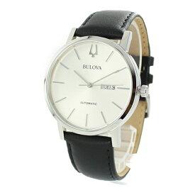BULOVA ブローバ 時計 メンズ 腕時計 クラシック アメリカン クリッパー オートマチック 自動巻き シルバー文字盤 シンプルデザイン ブラック レザー 96C130 ビジネス 男性 ブランド 誕生日 お祝い プレゼント ギフト