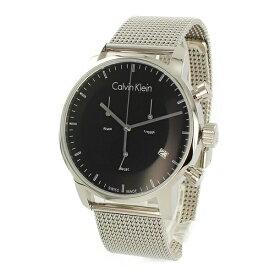 カルバンクライン 時計 メンズ 腕時計 CITY シティ クロノグラフ 43mm ブラック文字盤 シルバー メッシュベルト K2G27121 ビジネス 男性 ブランド 時計 誕生日 お祝い プレゼント ギフト