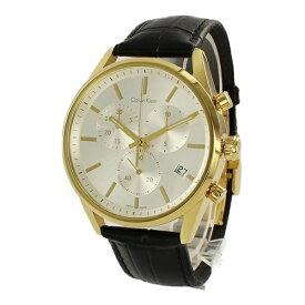 カルバンクライン 時計 メンズ 腕時計 FORMALITY フォーマリティ クロノグラフ 43mm ゴールドケース ホワイトシルバー文字盤 ブラック レザー K4M275C6 ビジネス 男性 時計 誕生日 お祝い ギフト