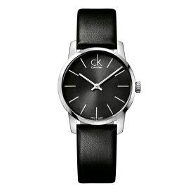 カルバンクライン CK スイス製 時計 レディース 腕時計 CITY シティ シルバーケース ブラック レザー K2G23107 ビジネス 女性 ブランド 時計 誕生日 お祝い プレゼント ギフト