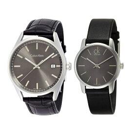 カルバンクライン CK スイス製 時計 ペアウォッチ 2本セット 腕時計 フォーマリティ/シティ シルバー ブラック レザー K4M211C3K2G23107 ビジネス 男女 ペアセット カップル ブランド 時計 誕生日 お祝い プレゼント ギフト