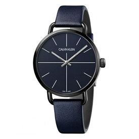 男性 フォーマル ビジネス カルバンクライン 時計 メンズ 腕時計 スイス製 イーブン ダークネイビー レザーベルト