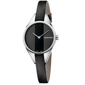 CALVIN KLEIN カルバンクライン CK 時計 レディース スイス製 腕時計 Rebel リベル 2針 2トーン シルバーケース ブラック レザー K8P231C1 ビジネス パーティー フォーマル 女性 女友達 彼女が喜ぶ ブランド 誕生日 お祝い プレゼント ギフト