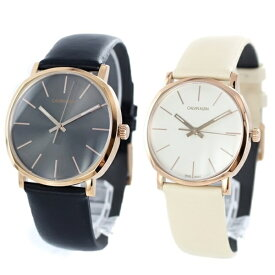 CALVIN KLEIN カルバンクライン CK 時計 メンズ レディース ペアウォッチ スイス製 腕時計 Posh ポッシュ 40mm 32mm ブラック×ベージュ レザー K8Q316C3K8Q336X2 ビジネス 男女 ペアセット カップル ブランド 時計 誕生日 お祝い プレゼント ギフト
