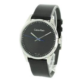 【Rakuten Fashion THE SALE 10%OFF】お一人様1点限り CALVIN KLEIN カルバンクライン CK スイス製 時計 メンズ 腕時計 40ミリ シルバー ブラック 黒い レザー 革ベルト K8S211C1