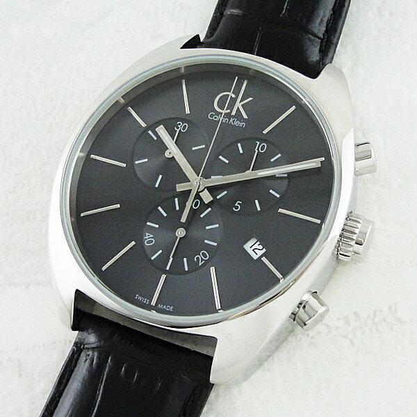 カルバンクライン 時計 メンズ 腕時計 エクスチェンジ ダークグレー文字盤 ブラックレザー K2F27107 ビジネス 男性 ブランド 時計 誕生日 お祝い クリスマスプレゼント ギフト お洒落