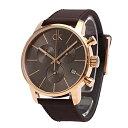 カルバンクライン 時計 メンズ 腕時計 CITY シティ クロノグラフ 43mm ダークグレー×ローズゴールド レザー K2G276G3…