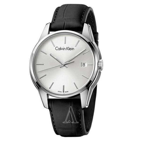 カルバンクライン 時計 メンズ 腕時計 TONE トーン シルバー文字盤 ブラック レザー K7K411C6 ビジネス 男性 ブランド 時計 誕生日 お祝い クリスマスプレゼント ギフト お洒落