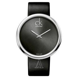 カルバンクライン 時計 レディース 腕時計 SUBTLE 46mm シルバーケース ブラック レザー K0V23107