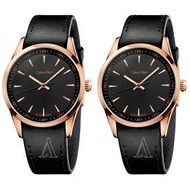 13e89930f1 カルバンクライン 時計 メンズ レディース ペアウォッチ シェア 腕時計 BOLD ボールド 41mm ローズゴールド ブラック レザー