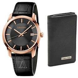 カルバンクラインCKセット商品腕時計&キーケースメンズインフィニートブラックレザー6連キーケースK5S316C3/79216