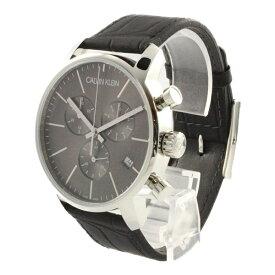 カルバンクライン 時計 メンズ 腕時計 CITY シティ クロノグラフ 43mm ダークグレー文字盤 ブラックレザー K2G271C3 ビジネス 男性 ブランド 時計 誕生日 お祝い プレゼント ギフト お洒落