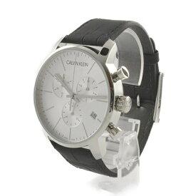 147e6da5a6 カルバンクライン 時計 メンズ 腕時計 CITY シティ クロノグラフ 43mm シルバー ブラックレザー K2G271C6 ビジネス 男性