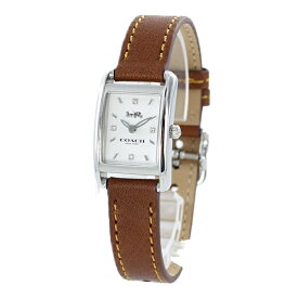 COACH コーチ 時計 レディース 腕時計 アリー 19ミリ スクエアケース シルバー ブラウン レザー 革ベルト 細身 シンプル 14503306 彼女 妻 娘 大学生 奥さん 誕生日 お母の日 祝い ギフト