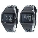 ディーゼル 腕時計 ペアウォッチ メンズ レディース 男女兼用 同サイズ チョップド デジタル クロノ ブラック ペア 時…