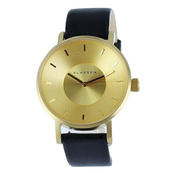 KLASSE14 クラス14 時計 メンズ レディース ユニセックス 腕時計 ヴォラーレ 42mm ゴールド ブラック レザー VO14GD001M ビジネス 男性 女性 ブランド ユニセックス【仕事用】 誕生日 お祝い プレゼント ギフト お洒落