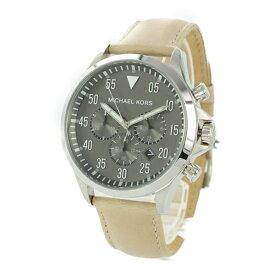 マイケルコース 時計 メンズ 腕時計 GAGE ゲージ クロノグラフ グレー クリーム レザー 革 MK8616
