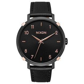 シンプル 大人 上品 腕時計 レディース ボーイズ ニクソン ピンクゴールド ブラック レザー 革