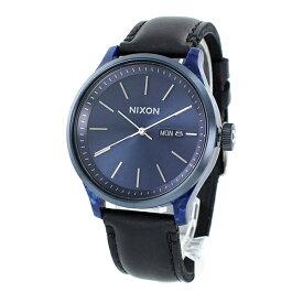 NIXON ニクソン 時計 メンズ 腕時計 The Sentry セントリー デイデイト 42ミリ ブルー ブラック レザー 革ベルト A12633168 ビジネス 誕生日 お祝い ギフト