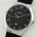 【アウトレット】スカーゲン 時計 メンズ 腕時計 スリム ブラック文字盤 レザー 革 SKW6115 ビジネス 男性 ブランド …