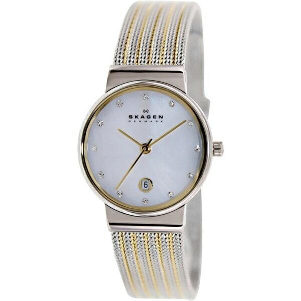 スカーゲン 時計 レディース 腕時計 シェル文字盤 スワロフスキー シルバー イエローゴールド 355SSGS ビジネス 女性 ブランド 誕生日 お祝い クリスマスプレゼント ギフト お洒落