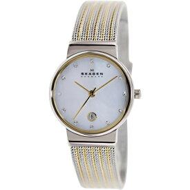 【キャッシュレス5%還元】スカーゲン 時計 レディース 腕時計 シェル文字盤 スワロフスキー シルバー イエローゴールド 355SSGS ビジネス 女性 ブランド 誕生日 お祝い プレゼント ギフト