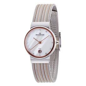 スカーゲン 時計 レディース 腕時計 シェル文字盤 スワロフスキー シルバー ピンクゴールド 355SSRS ビジネス 女性 ブランド 誕生日 お祝い プレゼント ギフト お洒落