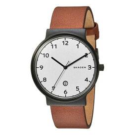 スカーゲン 時計 メンズ 腕時計 アンカー シンプル スリム 白文字盤 ブラウンレザー 革ベルト SKW6297 ビジネス 男性 ブランド 時計 【仕事用】 誕生日 お祝い プレゼント ギフト お洒落