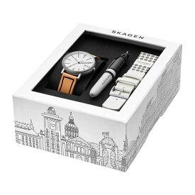 スカーゲン ギフトセット 替えベルト&ペン付き 時計 メンズ 北欧 腕時計 Signatur シグネチャー シルバー ブラウン ホワイト レザー 革 SKW1109 カジュアル 時計 ブラックフライデー